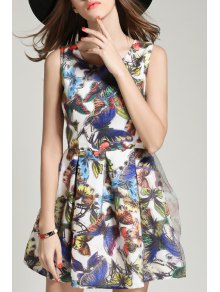 Butterfly Print Round Collar Sleeveless Dress