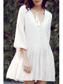 Pleated Front Flared Tunic Dress