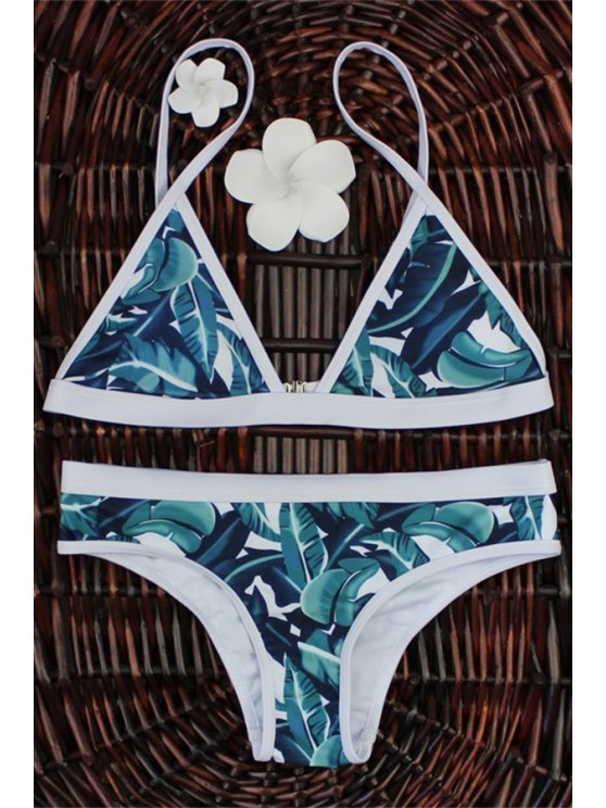 High-Cut Leaf Print Bikini Set - COLORMIX M Mobile