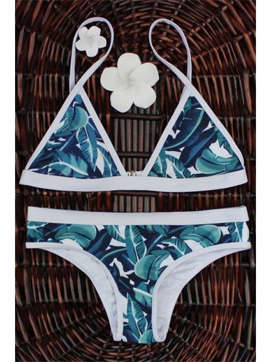 affordable High-Cut Leaf Print Bikini Set - COLORMIX M
