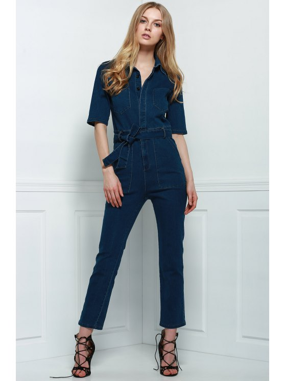 Denim Patch Pocket Flared Jumpsuit - DEEP BLUE S Mobile