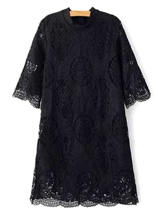 outfits Openwork Stand Collar 3/4 Sleeve Lace Dress - BLACK M