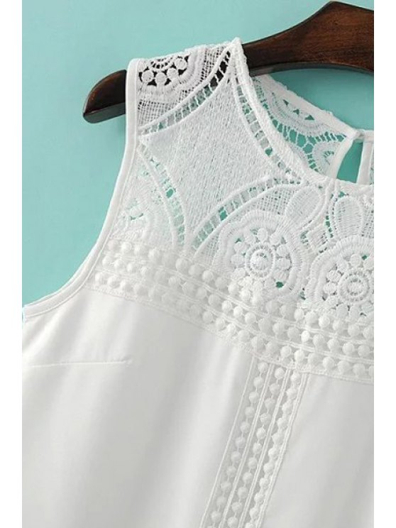 Lace Spliced Round Collar Sleeveless Dress - WHITE L Mobile