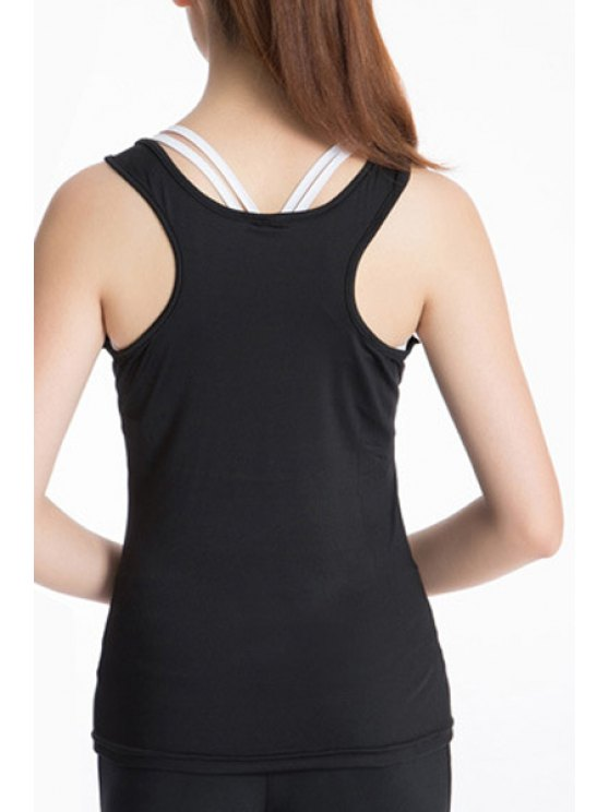 Exposed Seams Sports Tank Top - BLACK XL Mobile