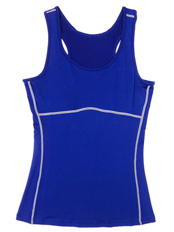 Exposed Seams Sports Tank Top - BLUE XL Mobile