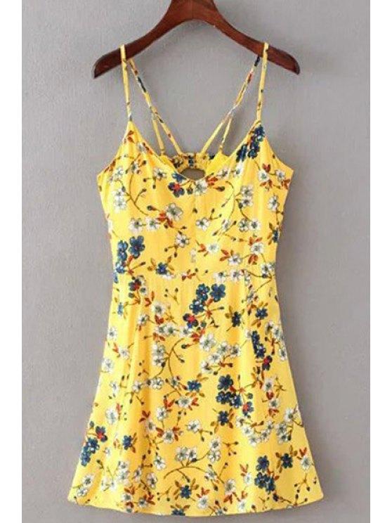 Floral Print Cami Dress - YELLOW M Mobile