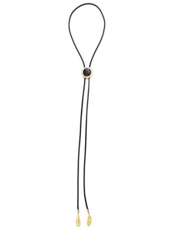 Round Stone Tie Shape Necklace - BLACK  Mobile