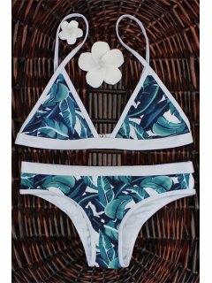 High-Cut Leaf Print Bikini Set - M