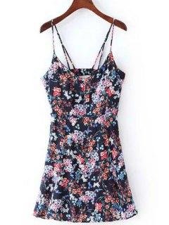Floral Print Cami Dress - Purplish Blue L