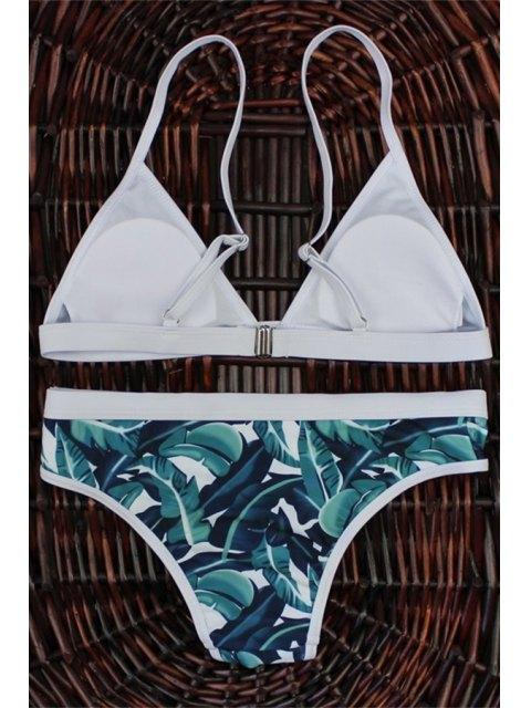 affordable High-Cut Leaf Print Bikini Set - COLORMIX M Mobile