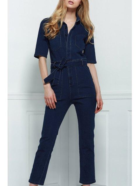 outfit Denim Patch Pocket Flared Jumpsuit - DEEP BLUE M Mobile