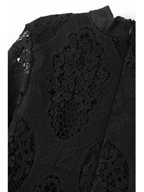outfits Openwork Stand Collar 3/4 Sleeve Lace Dress - BLACK M Mobile