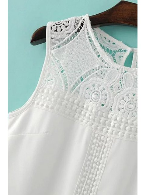 online Lace Spliced Round Collar Sleeveless Dress - WHITE S Mobile