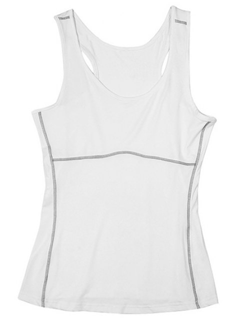 fancy Exposed Seams Sports Tank Top - WHITE XL Mobile