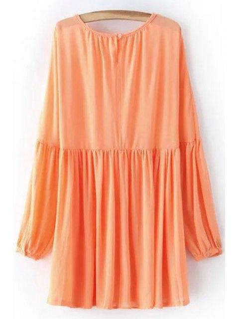 sale Solid Color Round Neck Long Sleeve Chiffon Dress - ORANGEPINK L Mobile
