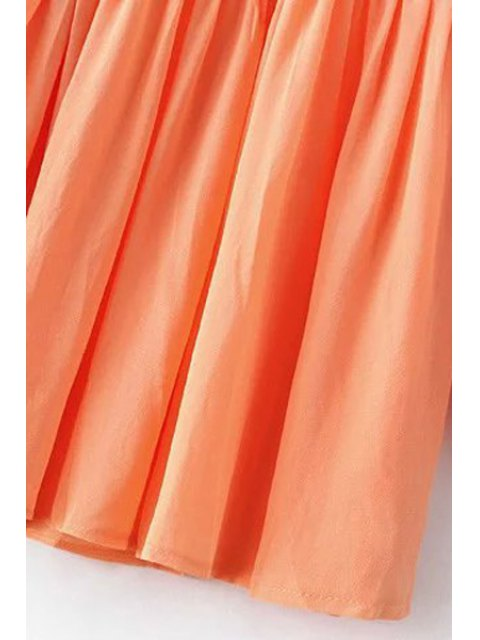 fancy Solid Color Round Neck Long Sleeve Chiffon Dress - ORANGEPINK S Mobile
