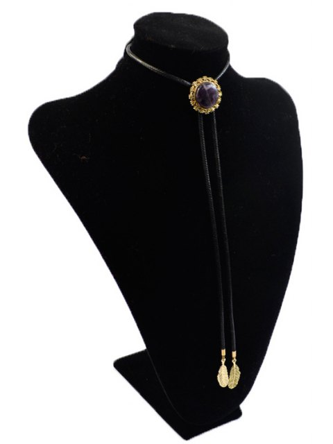 lady Round Stone Tie Shape Necklace - BLACK  Mobile
