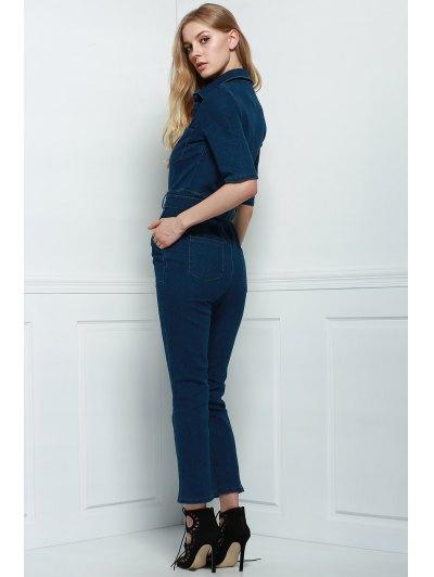 Denim Patch Pocket Flared Jumpsuit - DEEP BLUE M Mobile