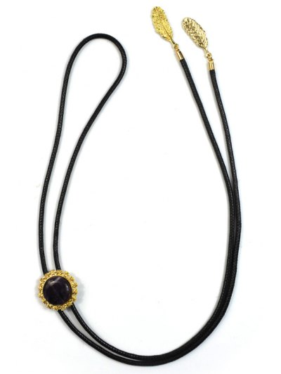 Round Stone Tie Shape Necklace - BLACK  Mobile