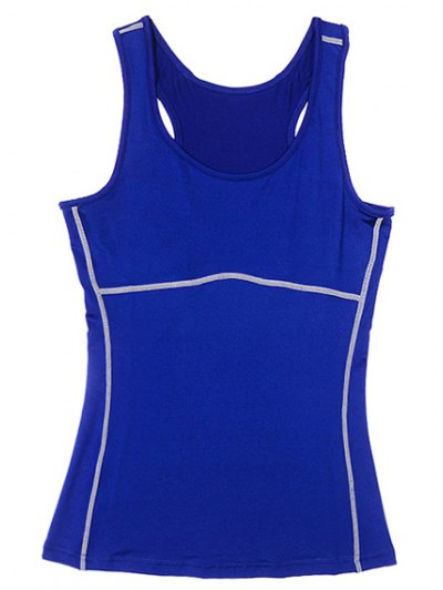 Exposed Seams Sports Tank Top - BLUE L Mobile