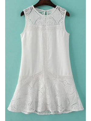 Lace Spliced Round Collar Sleeveless Dress - White