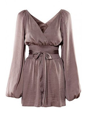 Solid Color Plunging Neck Long Sleeves Romper - Dun