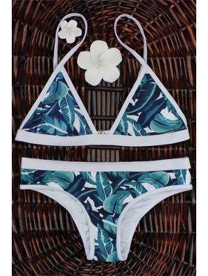 Ensemble de bikini bas levé imprimé palmier feuilles