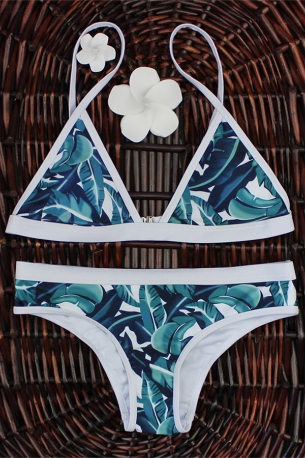 High-Cut Leaf Print Bikini Set - COLORMIX S