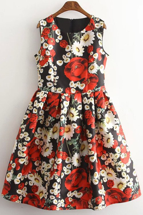 Round Neck Sleeveless Floral Print Dress