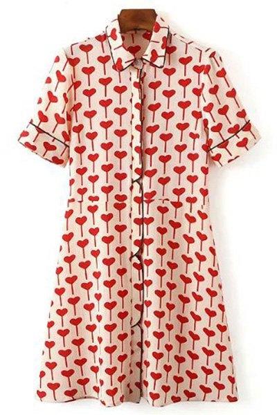 Short Sleeve Red Heart Shirt Dress 172233701