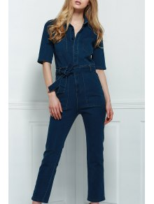 Denim Patch Pocket Flared Jumpsuit - Bleu Foncé