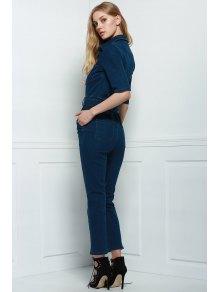 Denim Patch Pocket Flared Jumpsuit - DEEP BLUE S