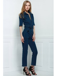 Denim Patch Pocket Flared Jumpsuit DEEP BLUE: Jumpsuits | ZAFUL