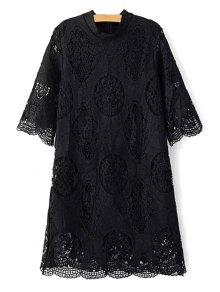 Openwork Stand Collar 3/4 Sleeve Lace Dress