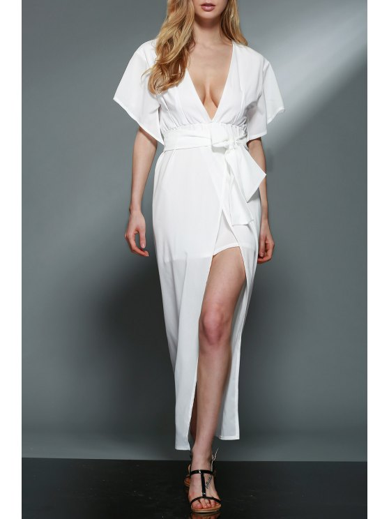Hundiendo cuello en capas de gasa blanco vestido - Blanco M