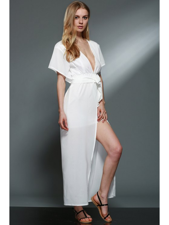 Deep V Neck Layered Chiffon Dress - WHITE L Mobile