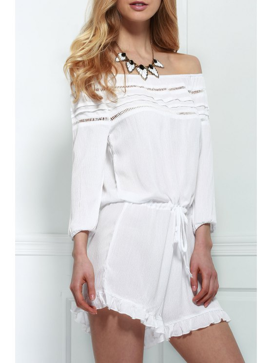 Off-The-Shoulder Drawstring Design Romper - WHITE L Mobile