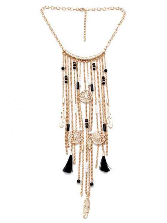 shops Ethnic Style Link Chain Tassel Necklace - GOLDEN