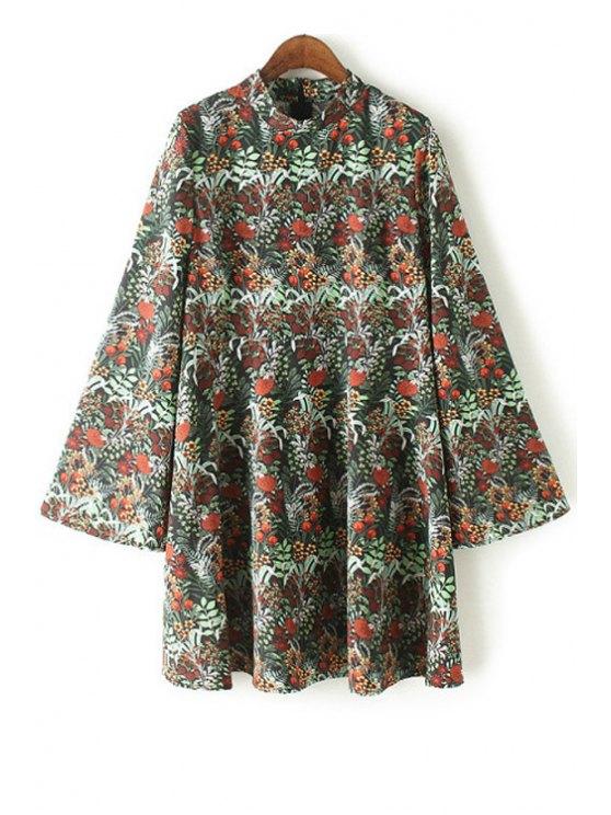 trendy Floral Print Stand Collar Bell Sleeve Dress - GREEN XL