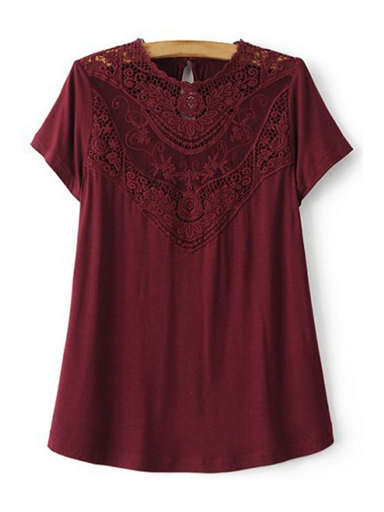 affordable Lace Spliced Round Collar Short Sleeve T-Shirt - WINE RED L