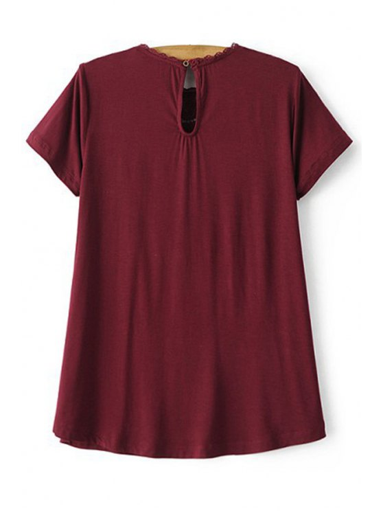 Lace Spliced Round Collar Short Sleeve T-Shirt - WINE RED M Mobile