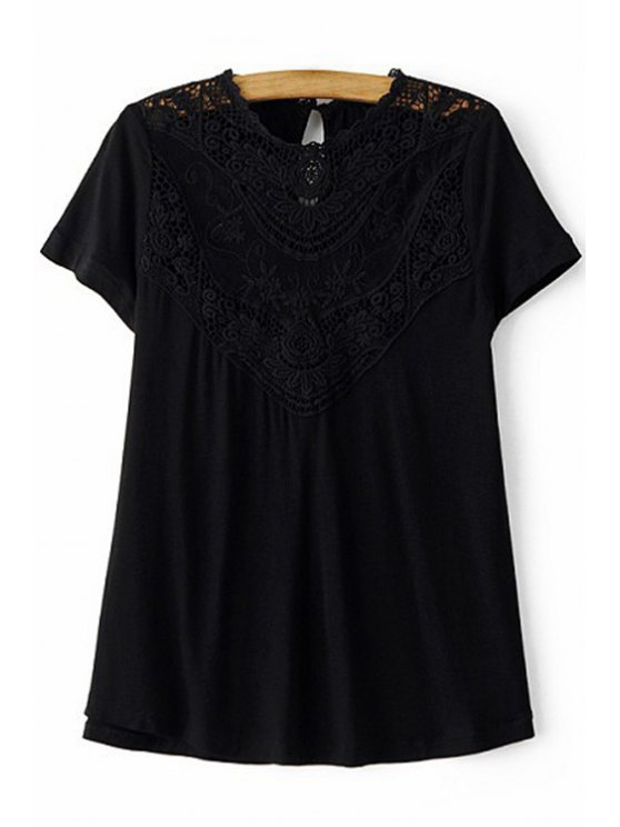 lady Lace Spliced Round Collar Short Sleeve T-Shirt - BLACK L