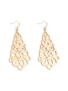 Flower Hollow Out Earrings - Golden