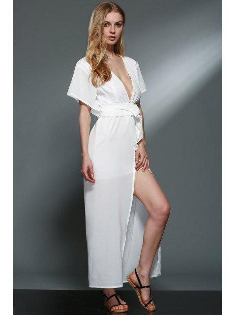 shops Deep V Neck Layered Chiffon Dress - WHITE L Mobile