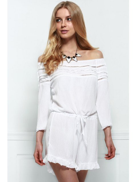outfit Off-The-Shoulder Drawstring Design Romper - WHITE XL Mobile
