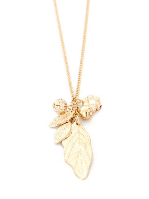 womens Solid Color Leaf Sweater Chain -   Mobile