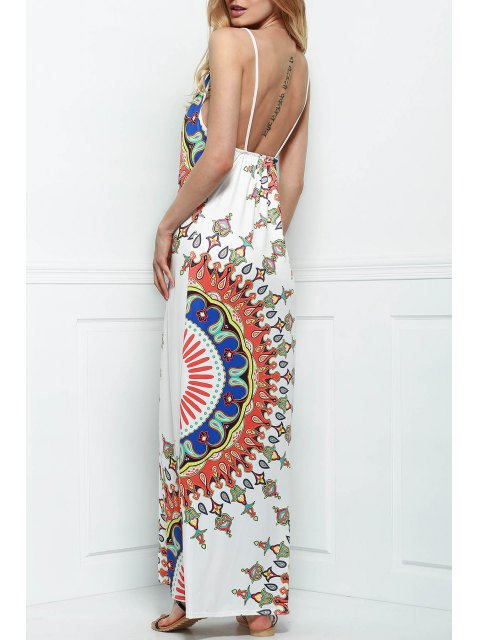 latest Printed Silky Beach Dress - WHITE L Mobile