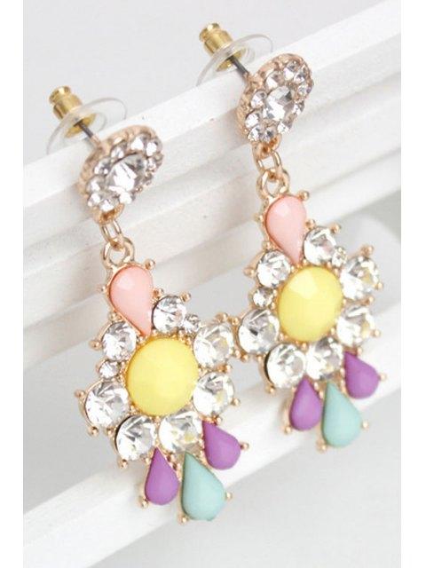 Rhinestone Floral Boucles d'oreilles - Multicolore  Mobile