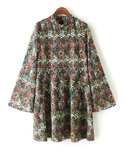 trendy Floral Print Stand Collar Bell Sleeve Dress - GREEN XL Mobile