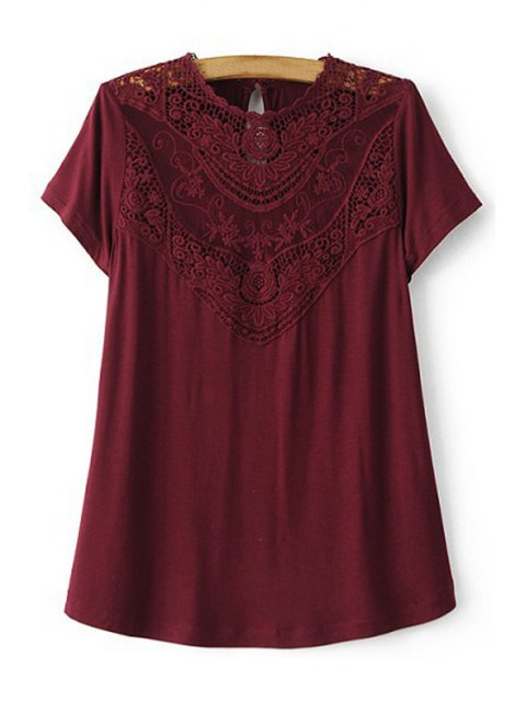 sale Lace Spliced Round Collar Short Sleeve T-Shirt - WINE RED M Mobile